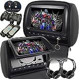 """Mvpower 2X 9"""" Reposacabeza reproductor DVD Multimedia pantalla digital TFT LCD Color Negro, con 2pcs Auriculares inalámbricos IR"""