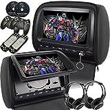 Mvpower Poggiatesta Auto Universale, 2 x 9'' Lettore DVD Da Vacanze, Sistema Multimedia Con 2 x Cuffie IR Wireless, Telecomando Come Joystick Per Video Game (Nero) immagine