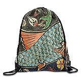 Hats New Unisex Rucksack mit Kordelzug, traditionelles Malerei, Fisch-Druck, Rucksack, Schultertasche, Sporttasche