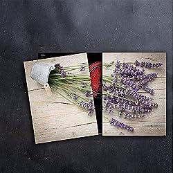 DAMU Herdabdeckplatten 2 x 40 x 52 cm Ceranfeldabdeckung Schutz Herdblende 80x52 2teilig Glas Spritzschutz Abdeckplatte Glasplatte Herd Ceranfeld Abdeckung Schneidebrett Lavendel Holz