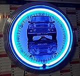 NEONUHR NEON CLOCK OLD BLUE MINI COOPER S GARAGE WANDUHR BELEUCHTET MIT BLAUEN NEON RING