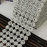 Dealglad® 10 Yards 6 Rows Silver Sunflower Diamond Mesh Flower Bling Crystal Ribbon Wrap Trim Wedding Cake Candle Decor