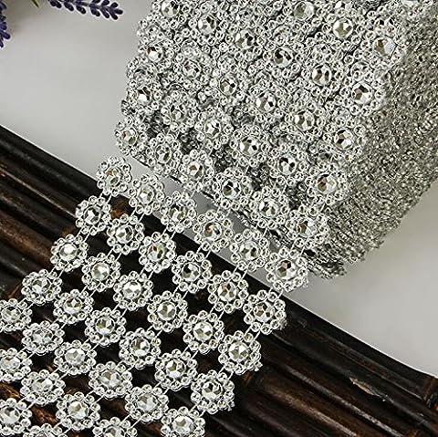 Dealglad® 10 Yards 6 Rows Silver Sunflower Diamond Mesh Flower