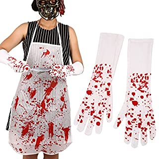 Kicode Erwachsene Halloween Krankenschwester Blutig Kreuz Handschuhe Lange Weiß + rot Ballsaal Verrücktes Kleid Cosplay Dekore