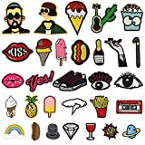 Satkago Iron Patches, 30Pcs Cartoon ricamo Patches Iron On or Sew on Patches applique per zaini t-shirt jeans gonna gilet sciarpa cappello vestiti