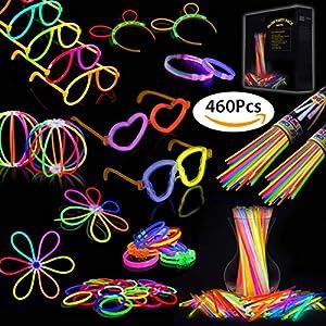 Josechan Pulseras Luminosas 200pcs de Fiesta 20cm 7 Colores con Conectores para Hacer Glow Sticks Pulseras, Collares, Kits para Crear Gafas Fiestas de Josechan