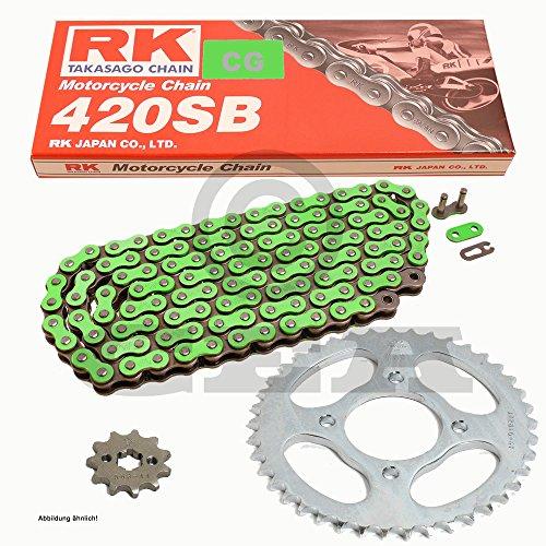 Kettensatz Kawasaki KX 85 B Big Wheel 01-15, Kette RK CG 420 SB 130, offen, GRÜN, 13/51