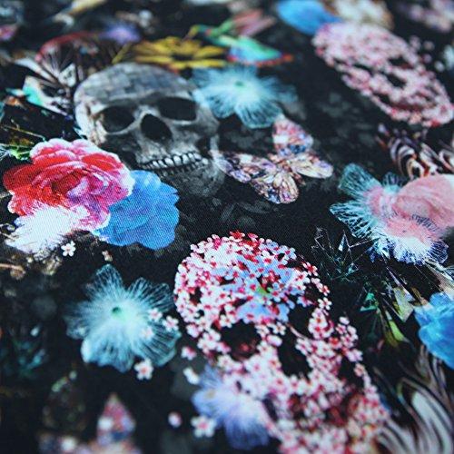 Jersey Stoff Skulls Schädel MIX Kolibri Blüten Digital - 25 cm Einheiten - (Kolibri-stoff)