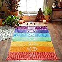 Angelo Morris Rainbow Wall Tapestry Throw Blanket Polyester Wall Hanging Beach Picnic Mat Bohemian Style (100 * 45cm)