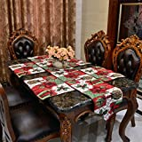 Weihnachten Festliche Tischläufer & 4 Tischsets Set Floral Thanksgiving Classic Home Tischdekoration (33 * 180cm, 33 * 46 cm) (Red Flower)