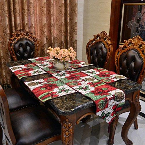 Weihnachten Festliche Tischläufer & 4 Tischsets Set Floral Thanksgiving Classic Home Tischdekoration (33 * 180cm, 33 * 46 cm) (Red Flower) (Home Tischdekoration)