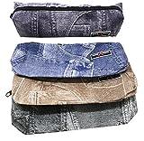 takestop® Federmäppchen Denim Jeans Bedruckt Stifte etc.. Bleistifte Kosmetik Tasche Bag zip Reißverschluss Schule Farbe zufällig