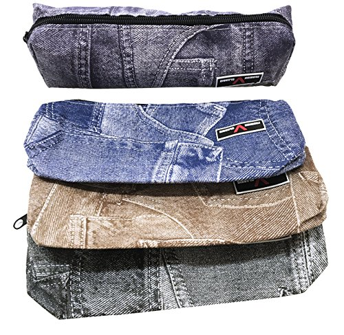 Takestop® astuccio denim jeans stampato portapenne portapastelli porta matite cosmetici borsa bag zip cerniera scuola colore casuale