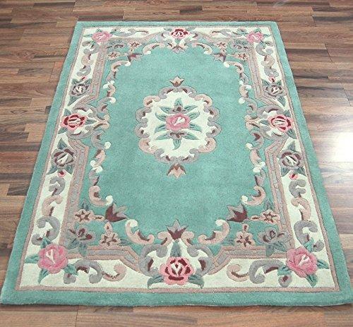 Chinesische Teppich (eRugs Kleine traditionelle Klassische Aubusson Floral 100% Wolle Handgetuftet Chinesische Teppich, grün 75x 150cm)