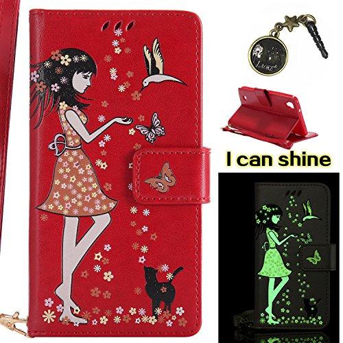 Preisvergleich Produktbild für LG X Power Hülle Flip-Case Premium Kunstleder Tasche im Bookstyle Klapphülle mit Weiche Silikon Handyhalter Lederhülle für LG X Power Luminous Mädchen Katze case Hülle +Stöpsel Staubschutz (4)