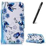 Slynmax Coque iPhone 5S Papillon Bleu Peint Mode PU Cuir Étui iPhone 5/5S/SE Housse...