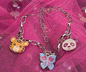 Bijoux - Bracelet à breloques - Tiger, Panda, Papillon - Wild Republic