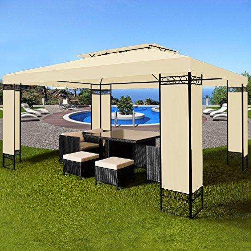 Deuba® Pavillon 3x4m Creme ✔ 12m² ✔ wasserabweisend ✔ Dachhaube ✔ Festzelt ✔ Partyzelt