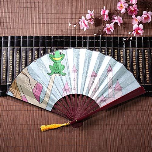 EIJODNL Hand Fan Bambus Schöne Dame Küsst Einen Frosch Mit Bambusrahmen Quaste Anhänger Und Stofftasche Chinesischer Großer Fan Hand Fans Japanische Hand Fan Handwerk -