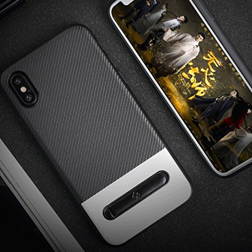 Wangqianli TPU + PC Twill Textur Anti-Rutsch-Schutzhülle mit Magnet Metallring Halter für iPhone X (Großauswahl : Ipxg9007s) -