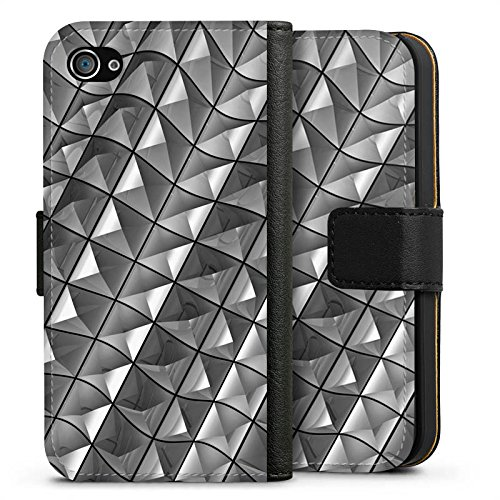Apple iPhone X Silikon Hülle Case Schutzhülle Muster Nieten Kristall Sideflip Tasche schwarz