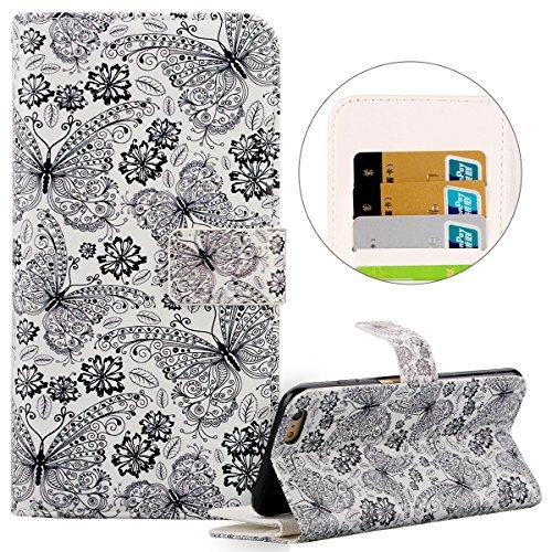 Cover iPhone 5 Pelle, Custodia iPhone 5S a Libro, Case iPhone SE, Flip Portafoglio Cover in PU + Bumper Custodia in Silicone Morbido, Surakey Elegante Full Body Protezione Posteriore iPhone 5 Custodia Farfalla Nero
