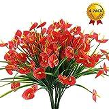 Nahuaa Künstliche Gartenpflanzen 4 stücke Kunststoff simulation pflanzen rot calla lilie dekorieren für home office badezimmer