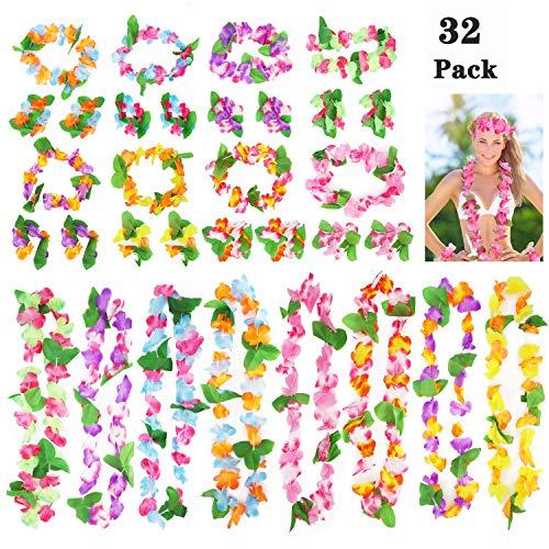 Annhao 32 Pezzi Ghirlanda Hawaiana Leis Luau con 16 bracciali 8 Fasce e 8 collane per Hawaiian Decorazioni per Vacanze Matrimoni spiagge Decorazioni di Compleanno Festa Carnevale Festival