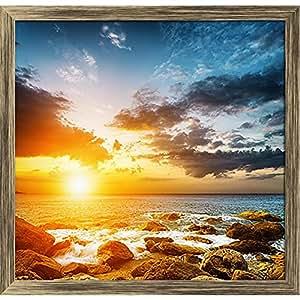 AZ Sunset Landscape Canvas Painting Antique Gold Wood Frame 16.6 x 16inch