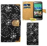 HTC One Mini 2 (M8 Mini) Handy Tasche, FoneExpert® Bling Luxus Diamant Hülle Wallet Case Cover Hüllen Etui Ledertasche Premium Lederhülle Schutzhülle für HTC One Mini 2 (M8 Mini) (Schwarz)