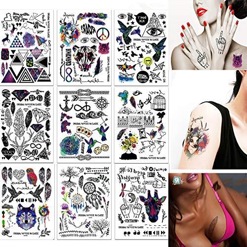 SZSMART 9 Hoja Tatuajes Temporales Tattoo Cuerpo Pegatinas Moda Impermeable, No Permanentes, No Tóxicos y Seguros para Todos los Tipos de Piel para Hombres Mujeres Adultos Mano Fake Tatoo 21cm*15cm