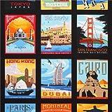 schwarzer Reise Städte Poster Cheater Stoff Robert Kaufman