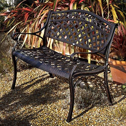 Lazy Susan – SANDRA Quadratischer Kaffeetisch mit 1 ROSE Gartenbank – Gartenmöbel Set aus Metall, Antik Bronze - 5