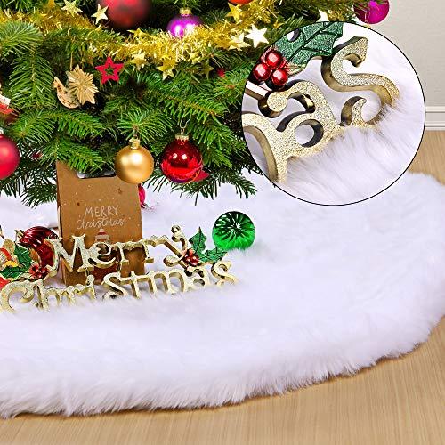 HOWAF 120cm Plüsch Weihnachtsbaum Rock Christbaumdecke Weiß Weihnachtsbaumdecke Christbaumständer Teppich Kunstfell Weihnachtsbaum Röcke Weihnachtsbaum Deko Weihnachtsdekoration