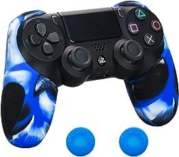 Pandaren® silikon dickere gälfte skin hülle für Schutzhülle PS4 controller (Tarnung blau) x 1 + thumb grips aufsätze x 2