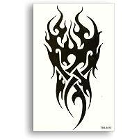 S.A.V.I Temporary Tattoo For Girls Men Women Tribal Totems Black Dragon Fire Sticker Size 19x12cm - 1pc, Black, 9 g