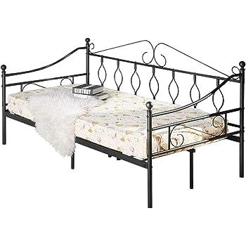 Aingoo Lit Banquette Canapé lit Simple en Métal Lit de Jour, Lit de Loisirs  pour Enfants ou Adulte 90x190 cm, Noir e3e1d67d8489