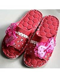 mhgao señoras Zapatillas ocio casa interior antideslizante en otoño y el invierno cálido de piel sintética acolchada zapatillas, Rosa roja, small