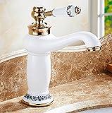 Mildemrweißen Hahn, Heißen Und Kalten Europäischen Stil Wasserhahn, Alle Kupfer Badezimmer, Hohe Blaue Und Weiße Porzellan Waschbecken, Weiß Waschtisch Armatur, Kurze Geld