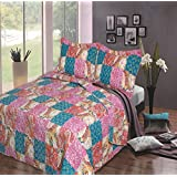 3 Piece PINK/TURQUOISE FLORAL DESIGN QUILTED MICROFIBRE BEDSPREAD THROW KING / DOUBLE BED