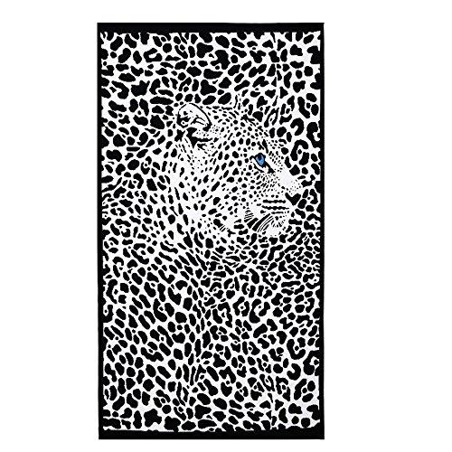 Strandtücher Groß Leopard Schwarz Bedruckt 100 x 180 cm Microfaser Badetuch für Erwachsene Damen Kinder Mädchen Ideal für Schwimmen Spa Reisen Yoga Sport Camping Sunbed Cover Bad oder Dusche zu Hause (Handtücher Leopard)