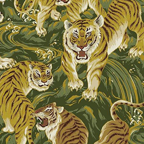 Tiger Metallic Stoff-Tiger Gold Metallic-qg06-von 0,6m-von Quilt Gate-100% Baumwolle -