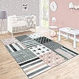 Kinderteppich Kinderzimmer Konturenschnitt Stern Muster Rosa Grau Pastellfarben, Grösse:120x170 cm