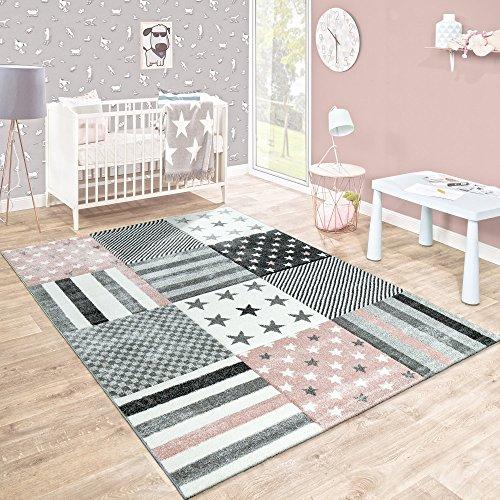 Kinderteppich Kinderzimmer Konturenschnitt Stern Muster Rosa Grau Pastellfarben, Grösse:Ø 120 cm Rund (Grau Und Rosa Runder Teppich)