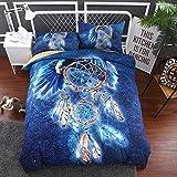 BEDSETAAA Bettwäsche Artikel Vier Stück Anzug Polyester Baumwolle 3D Digitaldruck Bettbezug Blatt Kissenbezug Dreamnet Serie 140x210cm Blau
