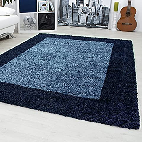 Shaggy carpets for living rooms, dining rooms or guest rooms with various colors such as black, brown, cream, green, red, mocha, purple, turquoise with 3 cm pile height and the carpets with OEKOTEX certified 1503, Size:100x200 cm, Color:Navy