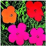 Bild mit Rahmen Andy Warhol - Flowers red, o.r. - Alimunium silber glänzend, 66 x 66cm - Premiumqualität - Klassische Moderne, Amerikanische Kunst, Pop Art, Pflanze, Blume, Blüte, Wohnzimmer, Arztpraxis - MADE IN GERMANY - ART-GALERIE-SHOPde