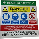 Site Safety Construction Multisign, High Viz Waistcoat, Safety Helmet, Footwear, Site Office, 500 x 500mm x 5mm by Catchy Signs Graphic Works