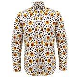Chenaski Retro-Hemd - 70er Jahre Hippie Pop Art - Orange Punkte & Kreise - S
