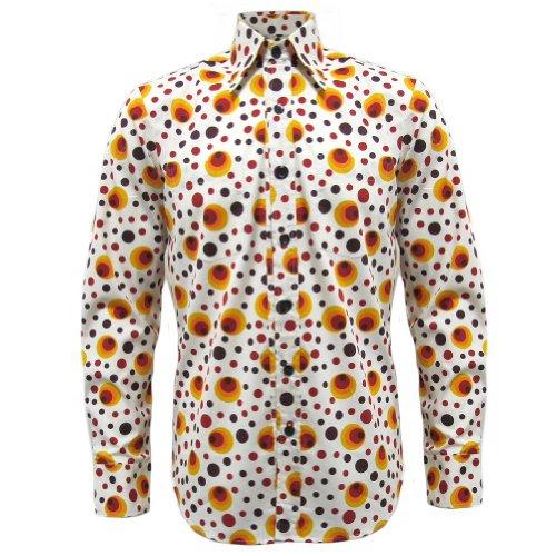 Herren Vintage Hippie Hemd (Chenaski - Retro-Hemd - 70er Jahre Hippie Pop Art - Orange Punkte & Kreise - M)